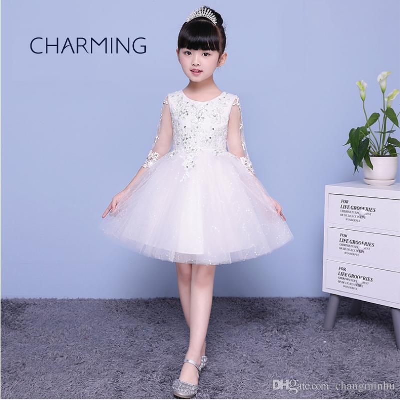 37dbe5681b17f Satın Al Kızlar Uzun Kollu Elbiseler Çiçek Kız Elbise Açılış Sezon  Mezuniyet Töreni Elbiseler Piyano Performans Çocuk Elbise, $50.42 |  DHgate.Com'da