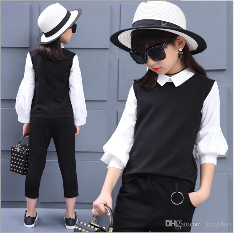 2610ccaf7 2019 Teenage Girls Fashion Clothing Sets Spring Autumn White Black ...