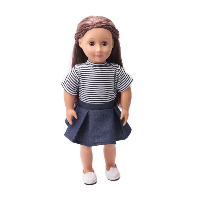 Dolls Accessories Striped T-Shirt & Shoulder Strap Mini Skirt Set For 18'' American Girl Our Generation Journey Doll Clothes Toy