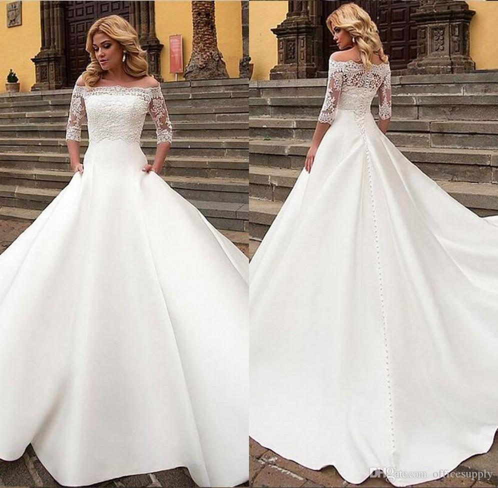 9fca34df53bd Discount Elegant White A Line Wedding Dresses Off Shoulder Short Sleeve  Lace Appliques Sexy Back Button Bridal Dress Charming Wedding Gowns Bridal  Gowns Uk ...