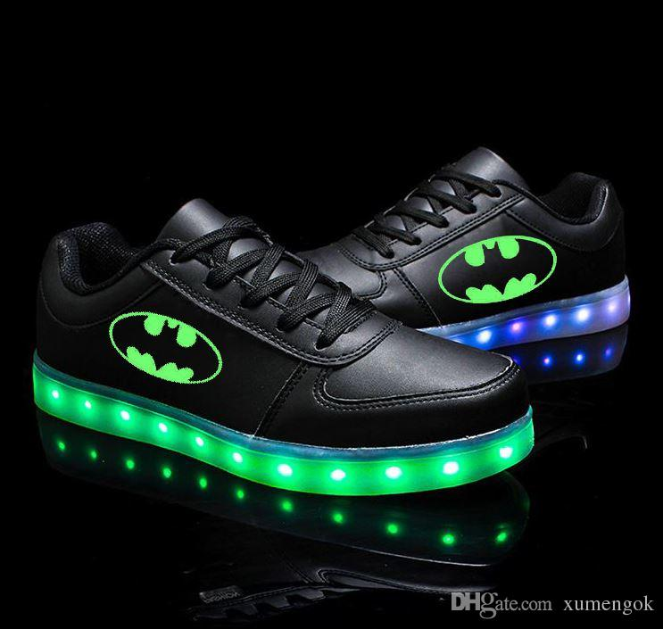 38186df6db64 Batman Shoes Low Top Men And Women Couples Shoes Colorful Flashing LED  Luminous Shoes Batman Christmas Gifts Birthday Gifts Shoes For Men Sports  Shoes From ...