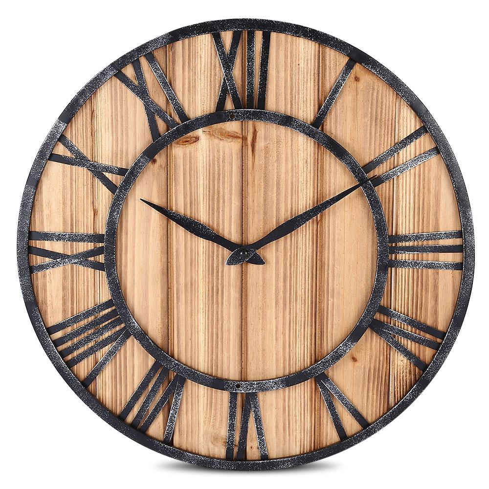 bfa9da240 European Style Wooden Metal Non Ticking Quartz Wall Clock Large Wall Clocks  Online Large White Wall Clock From Starch