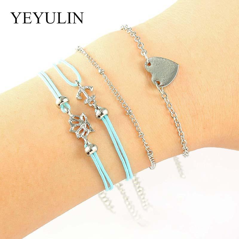ff09e355d8e0 4 piezas color plata forma de corazón pulsera de cadena ajustable azul  cuerda de cera barco ancla brazalete para amigo / familia exquisito regalo