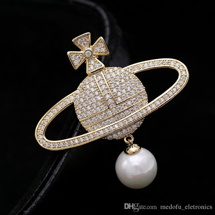 New Fashion Brooch Pins 18K Yellow White Gold Plated Full CZ Mars Brooches Pins for Men Women Wedding Party Nice Gift NL-580