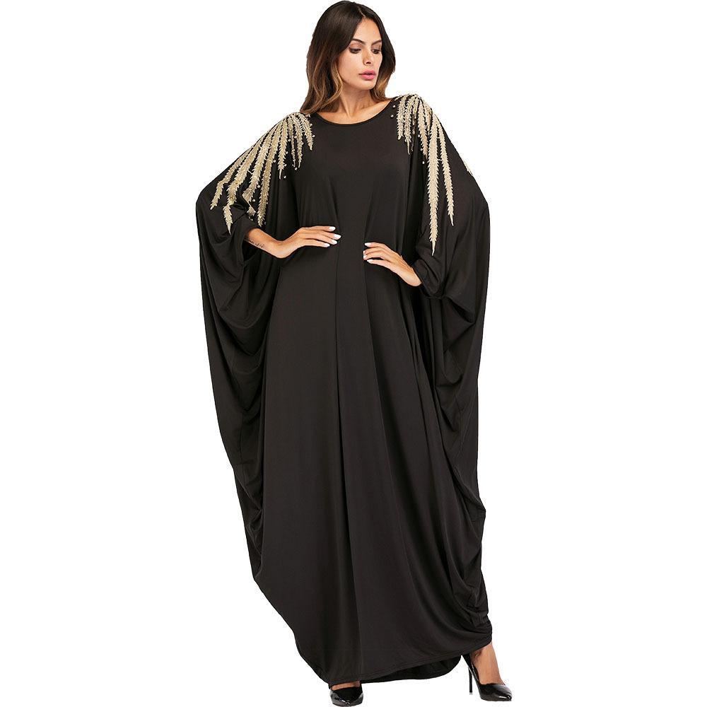 b94549ffeaa 2019 187034 Women Fashion Muslim Hui Dubai Bead Embroidery Bat Sleeve Robe  Big Code Dress Plus Size Corban Abaya Hijab Musulman Robes Women Robes From  ...