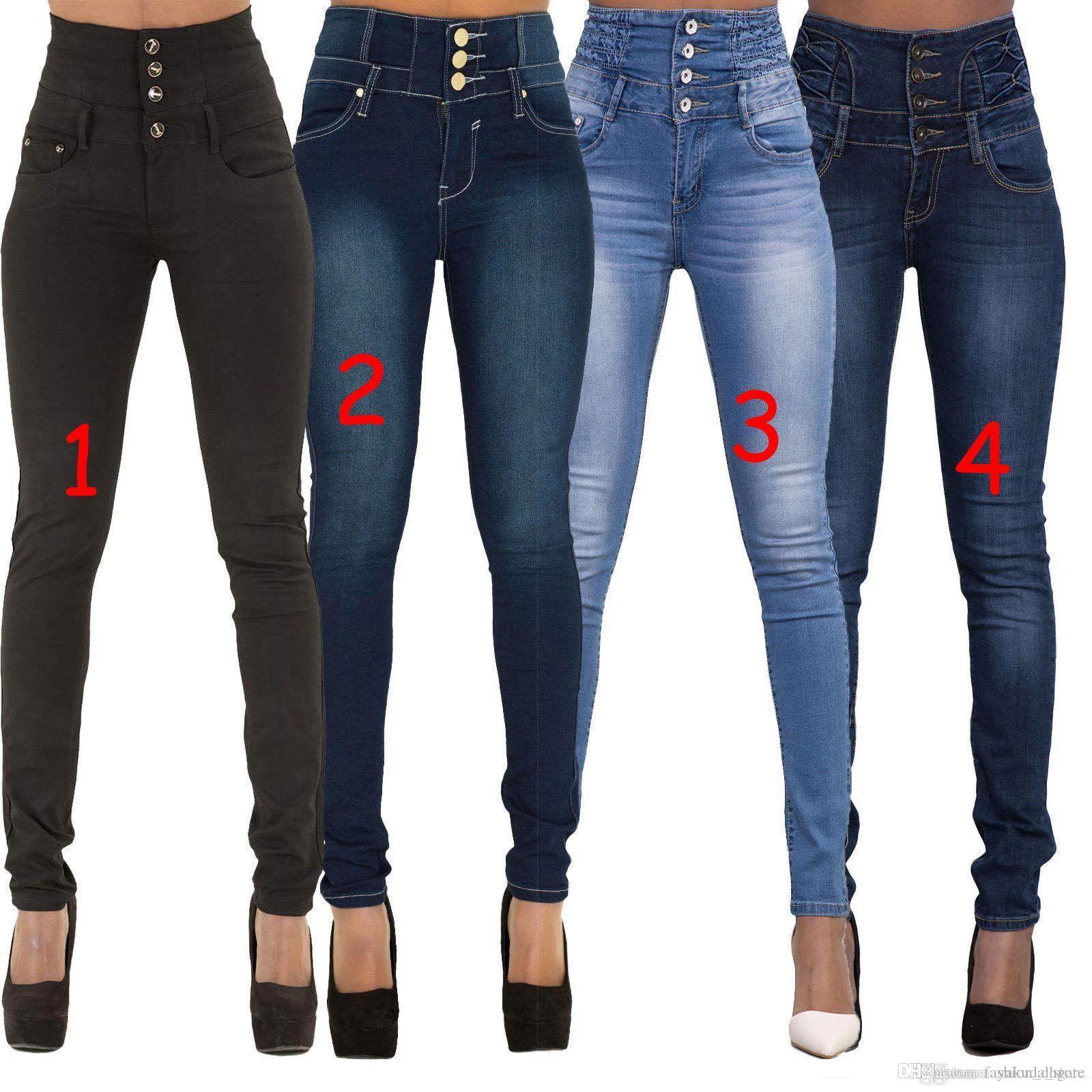 b00377b4c468c Acheter 2018 Nouvelle Arrivée Pas Cher Remise Femme Denim Crayon Pantalon  Top Marque Stretch Jeans Taille Haute Pantalon Femmes Pantalon Jeans Plus  La ...
