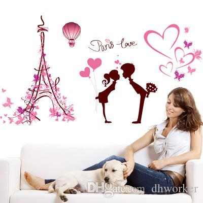 113*61cm PARIS LOVE Wall Stickers Wallpaper Christmas Paper Peint 3d Home Decor Bathroom Kitchen Accessories Household Suppllies
