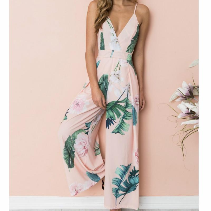 e1cacec6cfb Floral Printed Jumpsuits Femme Boho Women Summer Beach Spaghetti Strap Plus  Size Overalls Wide Leg Pants Striped Rompers GV395 Online with  29.71 Piece  on ...