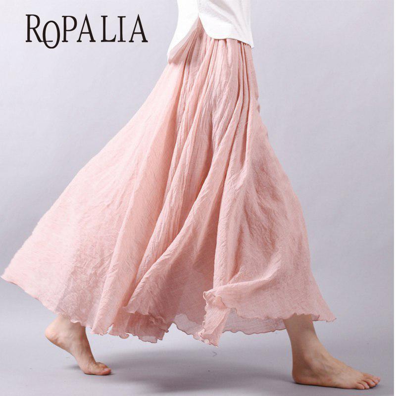 430971493 Venta al por mayor mujeres del verano faldas largas de algodón de lino  cintura elástica plisada faldas maxi Beach Boho Vintage faldas