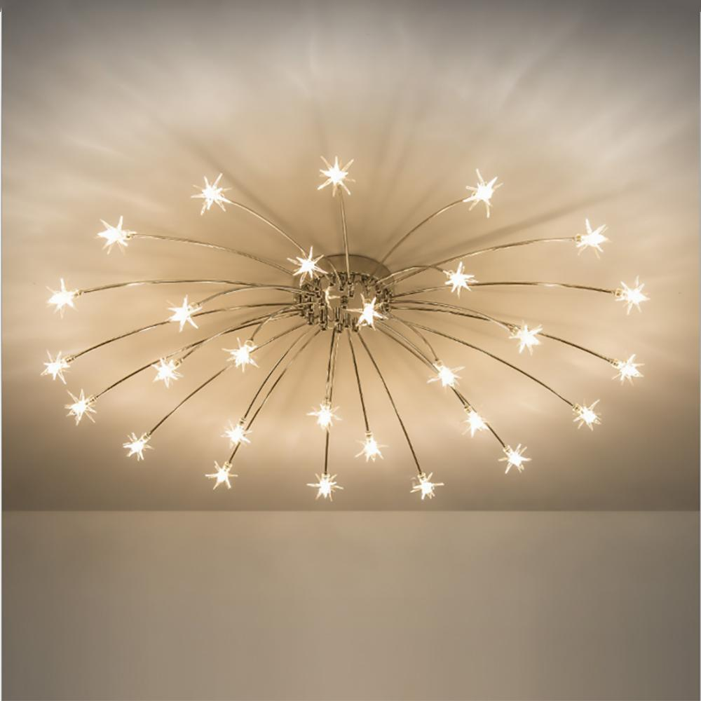 Modern Round Starry Sky Led Crystal Glass Ceiling Lights 15 21 28 Heads Stars Ceiling Lamps
