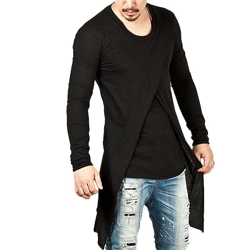 Compre Nuevos Hombres De Moda De La Llegada Camisetas Largas Primavera  Otoño De Manga Larga Con Cuello En O Negro Estilo De La Calle De Alta  Calidad De Hip ... 4a20af6ddb7