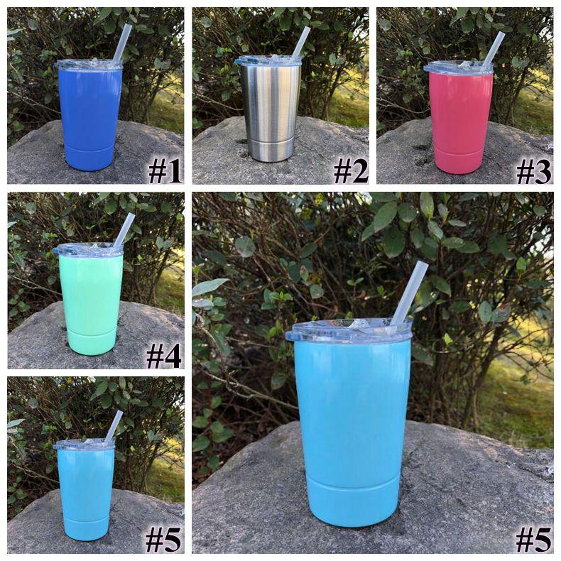 5 Colors 12oz Kid Milk Cup Vacuum Insulated Beer Mugs Stainless Steel Wine Glass Coffee Mugs With Lid With Straw CCA9237 30pcs