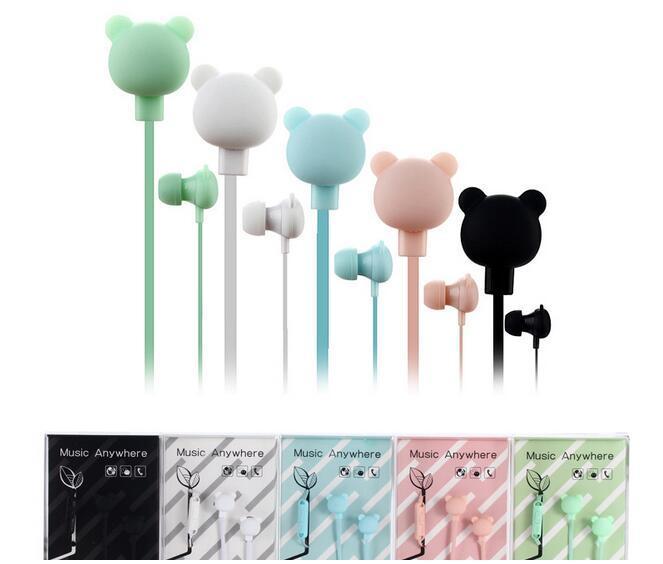 Hot Cute Bear Headphones Colorful Cartoon Studio In-ear Manos libres con micrófono Botón remoto 3.5mm Auriculares para iPhone Samsung Huawei Xiaomi