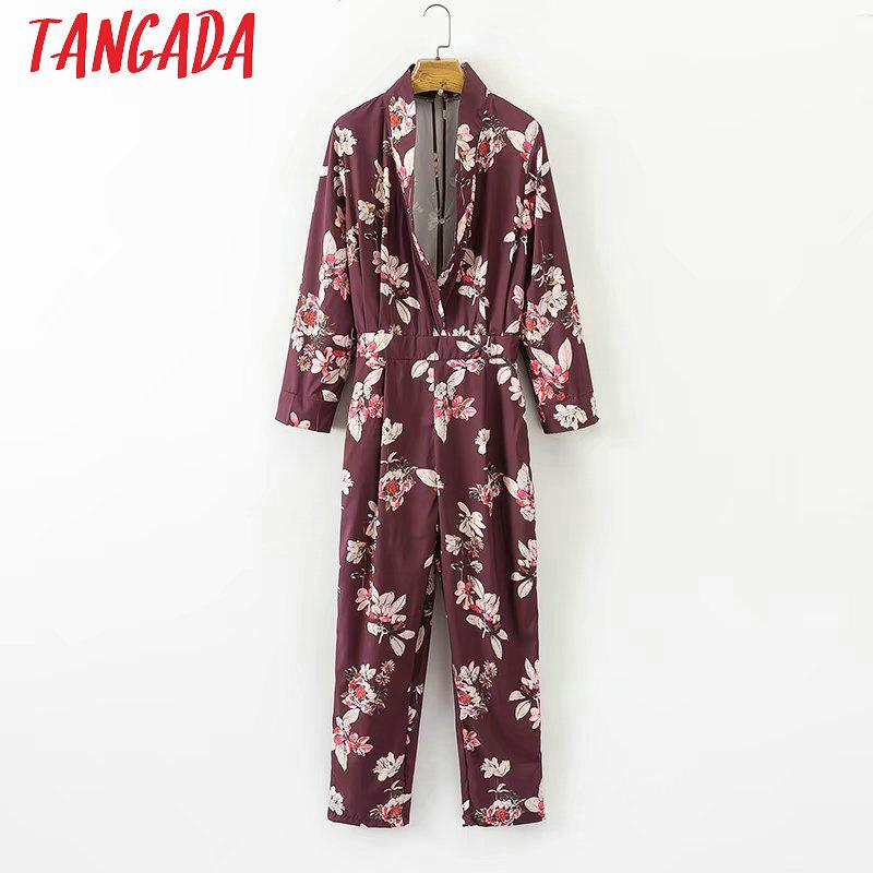 c7af70d9e6d 2019 Tangada Fashion Red Floral Print Long Sleeve Elegant Jumpsuit For Women  2017 Romper Sexy V Neck Female BodySuit Autumn XD209 From Xinpiao