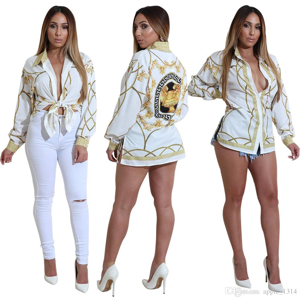 2019 Fashion Gold Chain Women Shirts Long Sleeve Sexy Ladies Tops Office Club Party Blouses Turn Down Collar Female Shirt Clothes