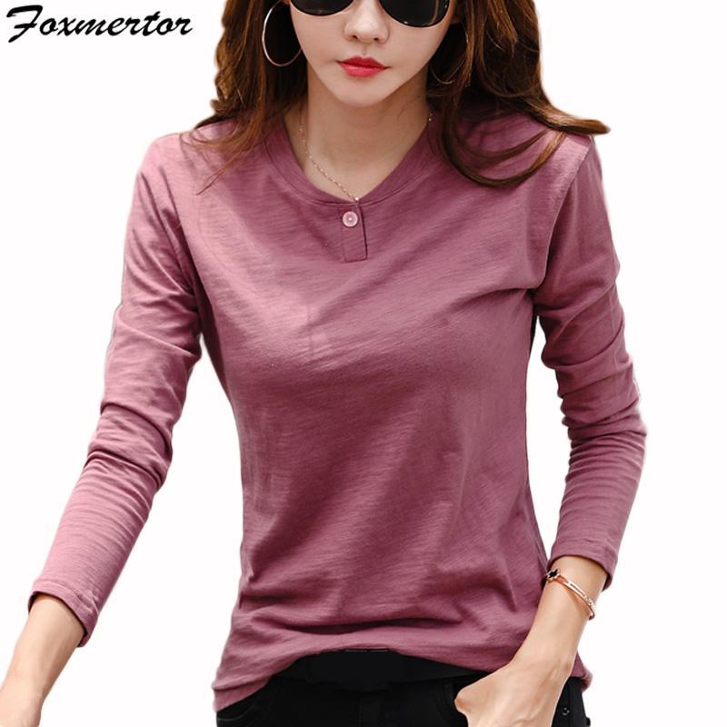 07bb25ba93 Basic T Shirt Women Long Sleeve Womens Tops 2018 Spring Autumn Tee Shirt  Women Korean Style T Shirt Cotton New Camiseta Mujer Online Shop T Shirt  Shirts ...