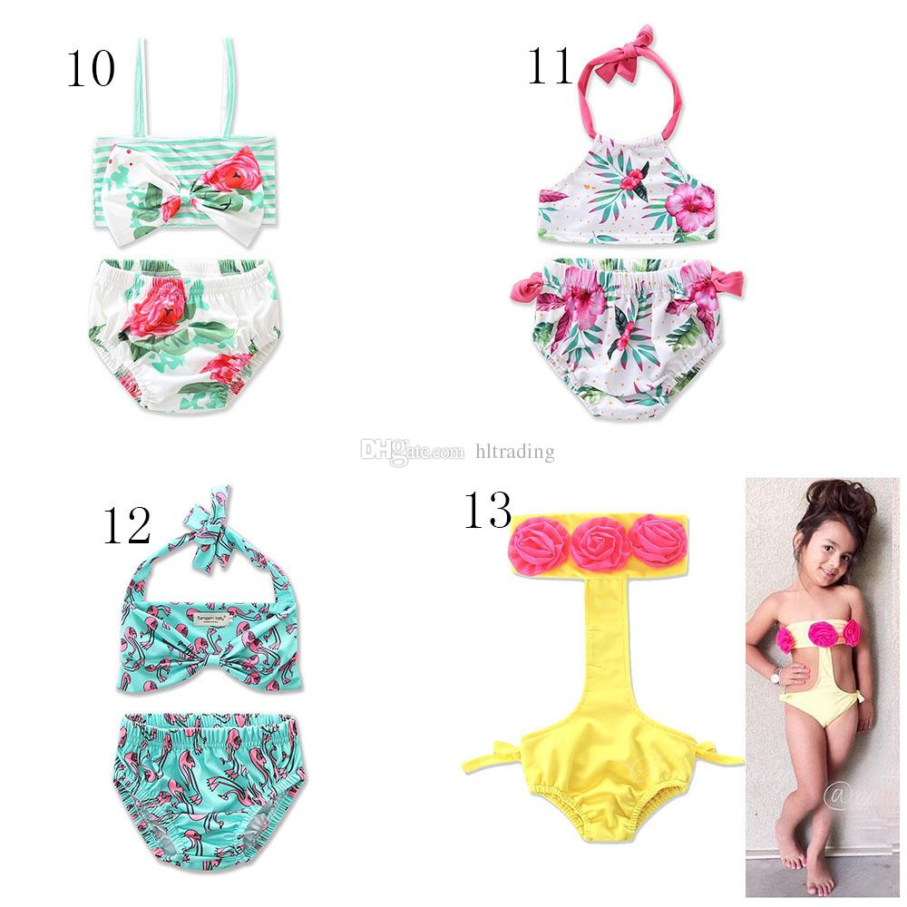 New Girl Floral American flag swimwear outfits cotton children Bow Bikinis Swimsuit Baby Clothing C2137