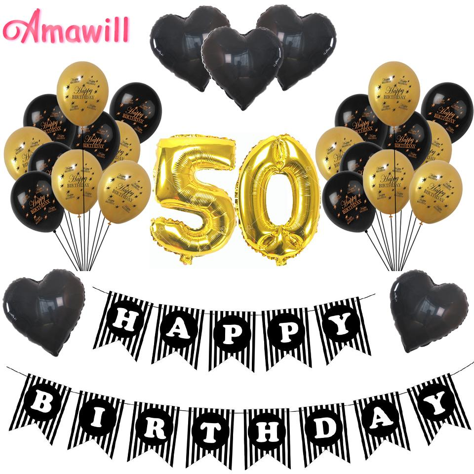 Amawill Cheers 50th Birthday Gold 32inch Number Balloons Happy 50 Years Old Party Decorations Men Women Favors Supplies 8D