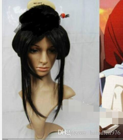 Envío gratis Beautiful Black Girl Geisha peluca llena pelucas placa pelo Anime Cosplay peluca