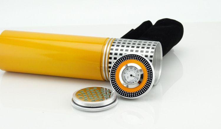 Spedizione gratuita COHIBA argento portatile viaggio tubo del sigaro del metallo tubo Humidor con umidificatore igrometro sigaro scatola di sigari