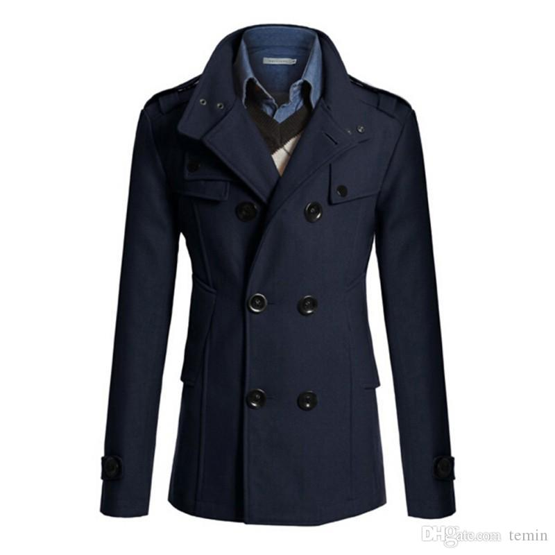 141630e31 Wholesale- New Men's Trench Coat Winter Warm Wool Long Jacket Double  Breasted Thick Windbreake Tops