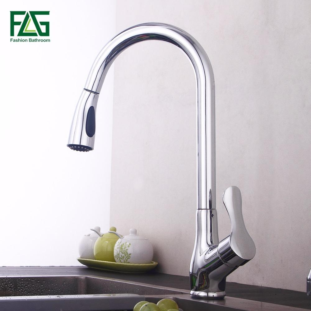 FLG Pull Out Kitchen Faucet, Chrome Finished Sink Mixer Tap, Copper ...