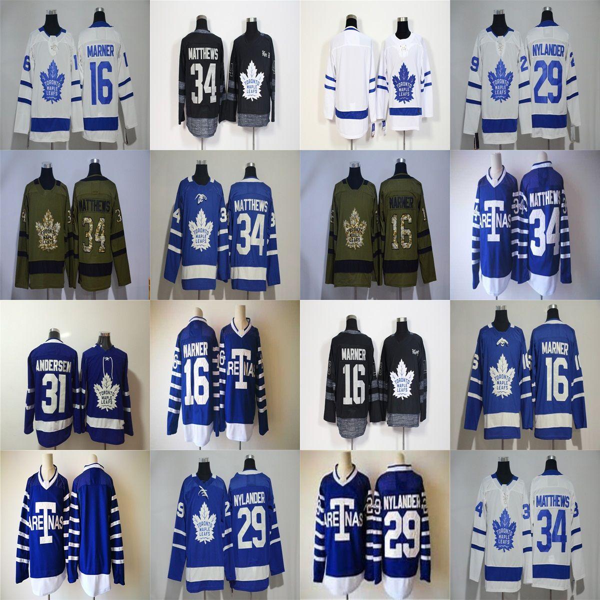 Mens Maple Leafs Jersey 34 Auston Matthews 16 Mitch Marner 29 William  Nylander 31 Frederik Andersen Blank Hockey Jerseys Blue White Stitched Mens  Maple ... 325f05836