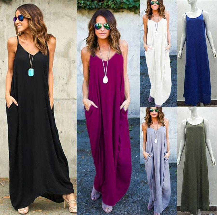 e14330e2aded8 2018 Summer Black Dresses Plus Size Long Maxi Dress Women Sleeveless Casual  Dress Boho Beach Dress Strap Pockets New LX330