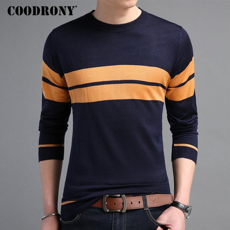 73e93c5c3b 2019 COODRONY Mens Sweaters 2018 Autumn Winter Cotton Pullover Men Casual O  Neck Sweater Men Striped Long Sleeve Shirt Pull Homme 220 From Berniceone,  ...