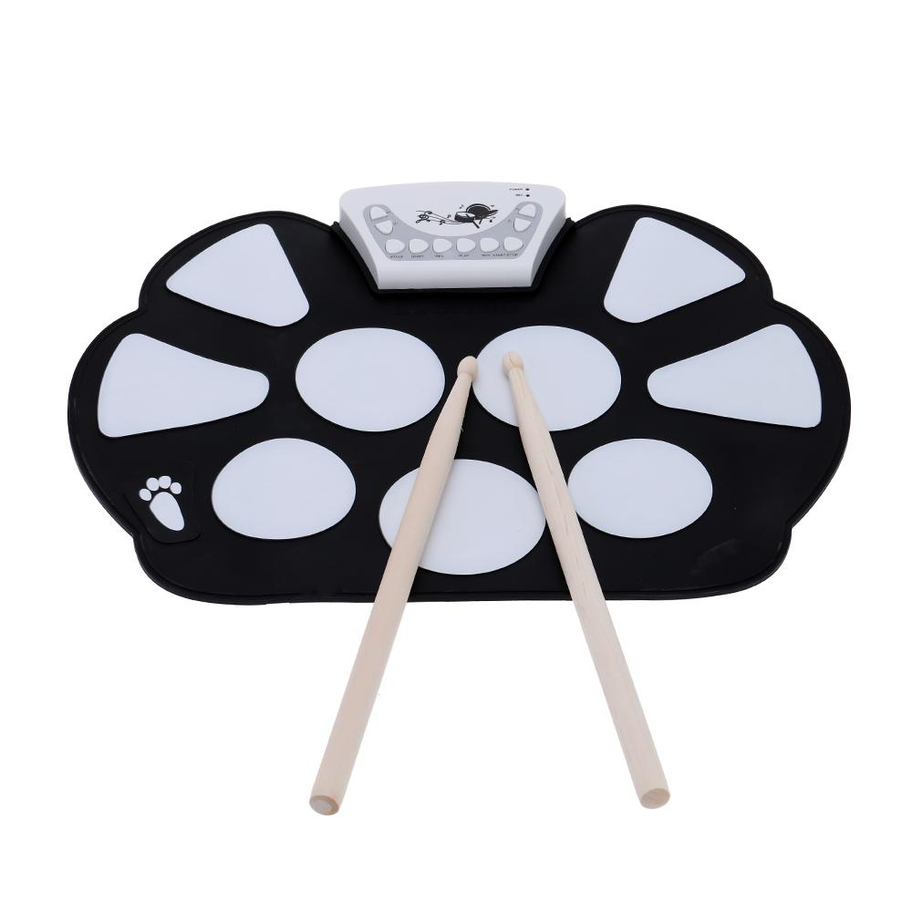 Portable Electronic Roll up Drum Pad Kit Silicon Foldable with Stick free shipping