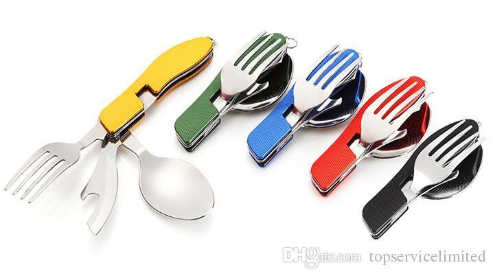 Durable acampar al aire libre suministros Multi-funcional cuchara tenedor cuchillo vajilla herramientas Portable 3 en 1 juego de vajilla