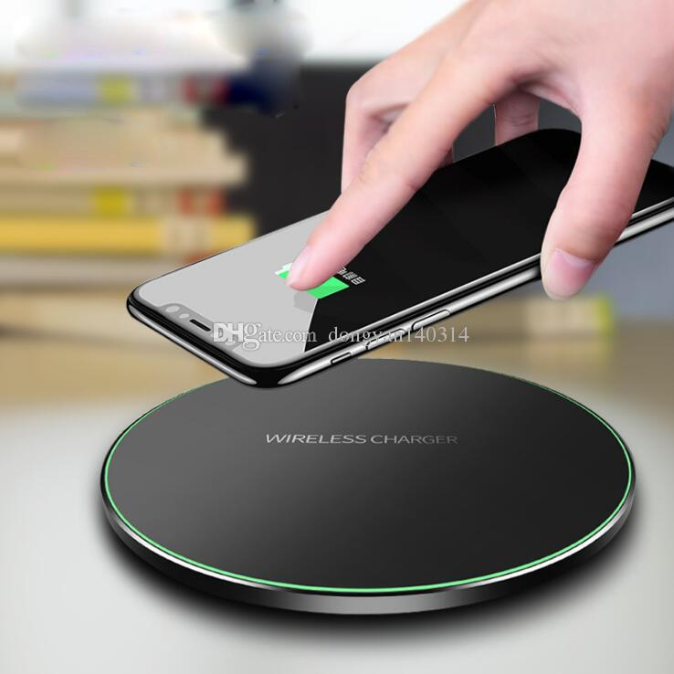 Ultra thin wireless charger block filled QI circular launcher aluminum alloy wireless charger iphone8 fast charging 9V