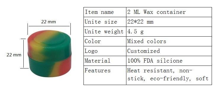10 X antiadhésive colorée alimentaire G Silicone Dab conteneurs 2 Ml ronde antiadhésive Wax conteneur Silicone pots