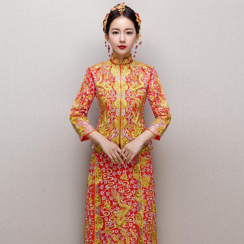 fca2615c5 Compre Novia Cheongsam Vintage Vestido De Novia De Estilo Chino Vestido De Brindis  Retro Lady Bordado Phoenix Vestido De Matrimonio Qipao Rojo Ropa A ...