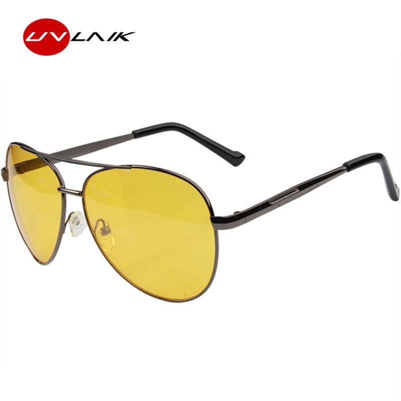 3bb836a899a UVLAIK Night Vision Glasses Men Driving Yellow Lens Sunglasses Classic Anti  Glare Vision Driver Safety Glasses For Men Police Sunglasses Serengeti ...