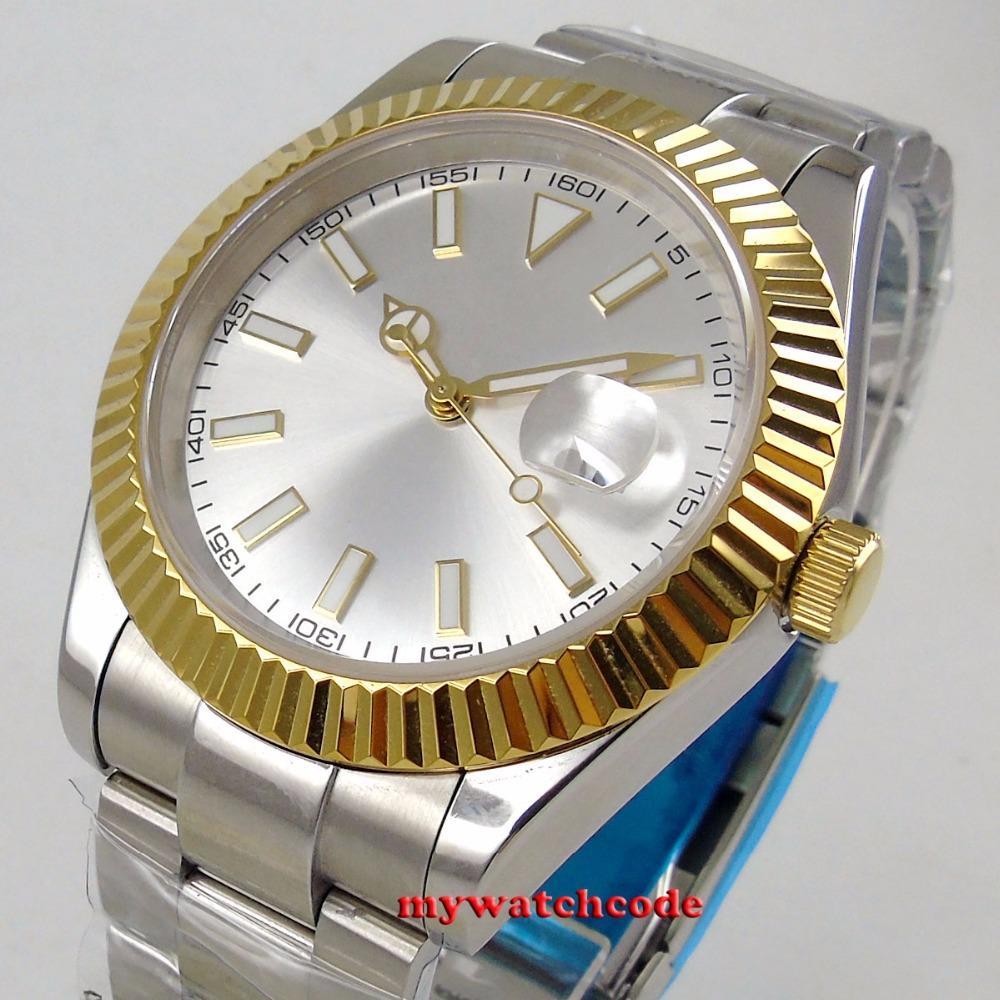 78badea937b Compre 40mm Prata Mostrador De Safira De Vidro Caixa De Ouro 316L SS  Automático Dos Homens Relógio De Luxo Da Marca Top Relógios Mecânicos De  Qualitywatch