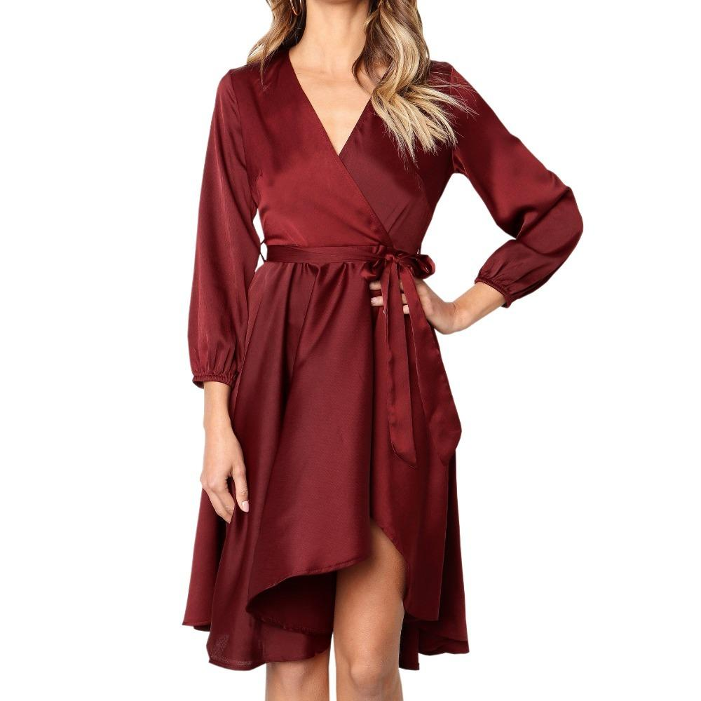 5d61c0a98d0 Vintage Wine Red Midi Dresses Women Sashes Wrap Satin Autumn Wrist Sleeve  Solid Green Dress Elegant Lady V Neck Sexy Party Dress Maxi Dress Red Dress  From ...