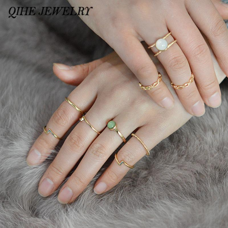 2018 Qihe Jewelry Tiny Smooth Moonstone Gold Color Midi Ring