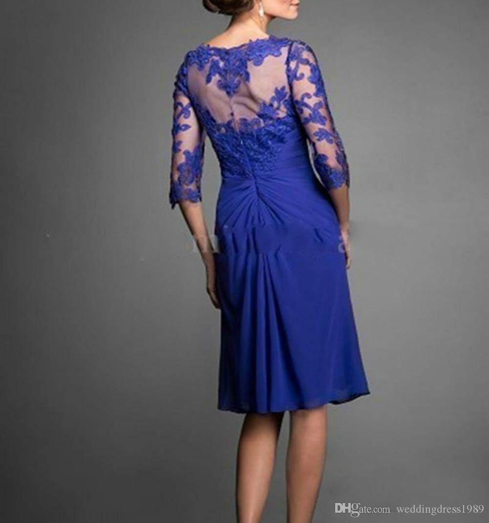 Royal Blue Lace Short Chiffon Mother Formal Wear With Half Sleeve Party Wedding Guest Dress Evening Mother Of The Bride Dress Suit Gowns