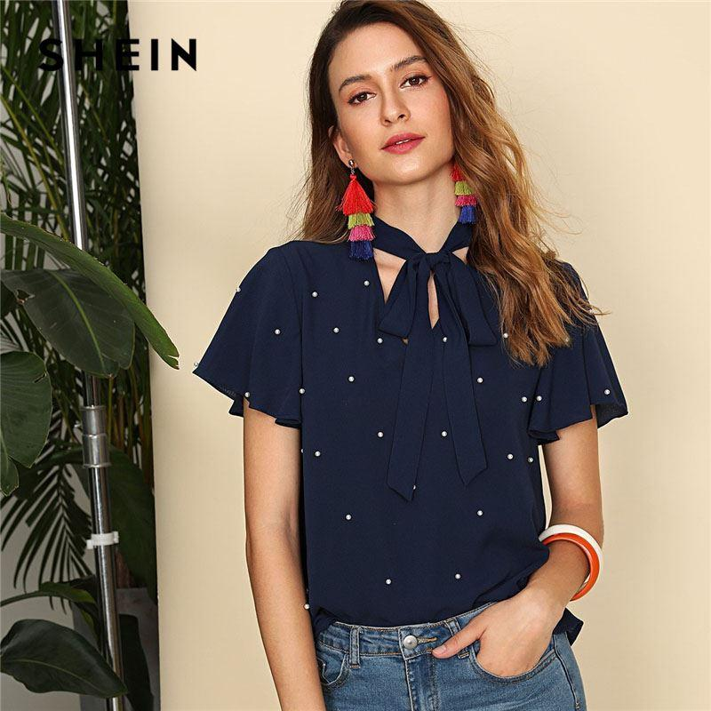 3049bd07561 2019 Navy Pearl Embellished Tie Neck Butterfly Sleeve Top Women Stand  Collar V Neck Short Sleeve Plain Top 2018 Elegant Blouse From Zhang110119