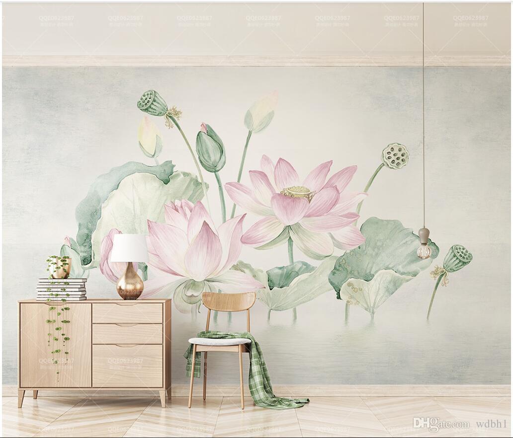3d Wallpaper Custom Photo Small Fresh Pink Hand Painted Lotus