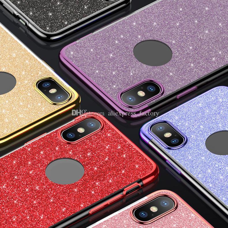 5e29dc65493 Fundas Para Moviles Chinos Bling Glitter 3 En 1 Estuche De Galjanoplastia  Cubierta De Silicona Transparente TPU Suave Dorada Suave Galvanizada Para  IPhone ...