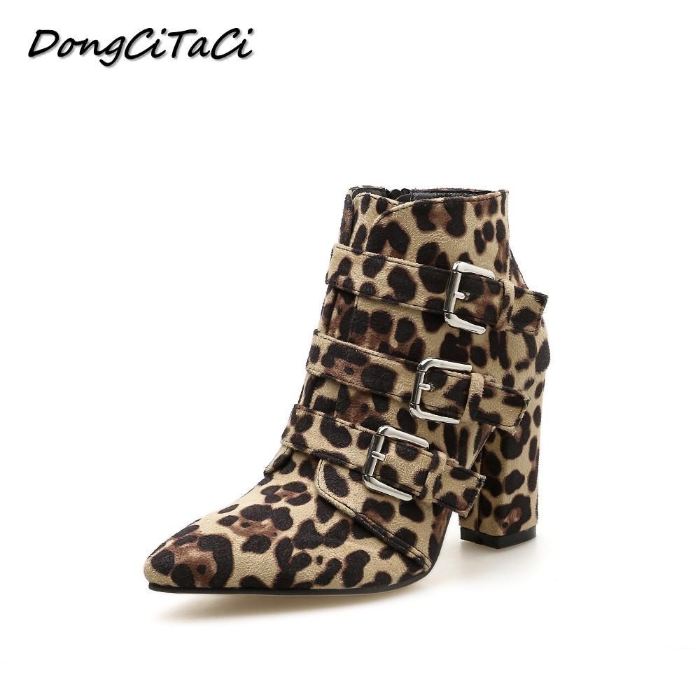 DongCiTaCi Autumn Women Leopard Ankle Boots Shoes Women Square Thick Heel  Party Wedding Star Buckle Short Bootie Side Zipper Black Ankle Boots Wedge  Shoes ... 0cfe97de84
