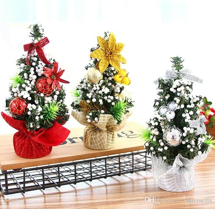 20cm christmas decorations festival mini christmas tree pine desktop ornaments home company bar mall layout props small gifts silver christmas ornaments