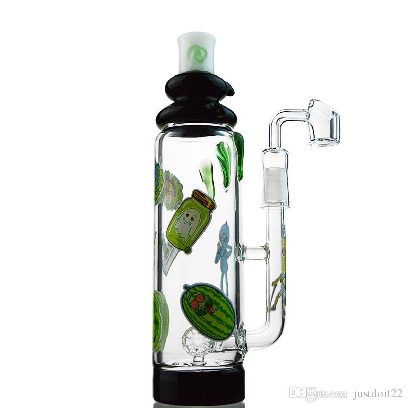 5mm Thick Glass Bongs Dab Oil Rigs Green Glass Water Bong With Barrel Perc 9 Inch Water Pipes With Banger DGC1805-06