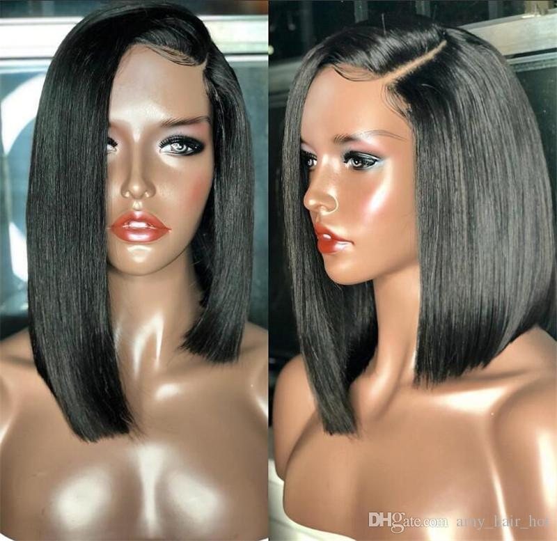 Silky straight middle part glueless virgin brazilian short human hair lace front wigs&full lace african american bob wigs for black women