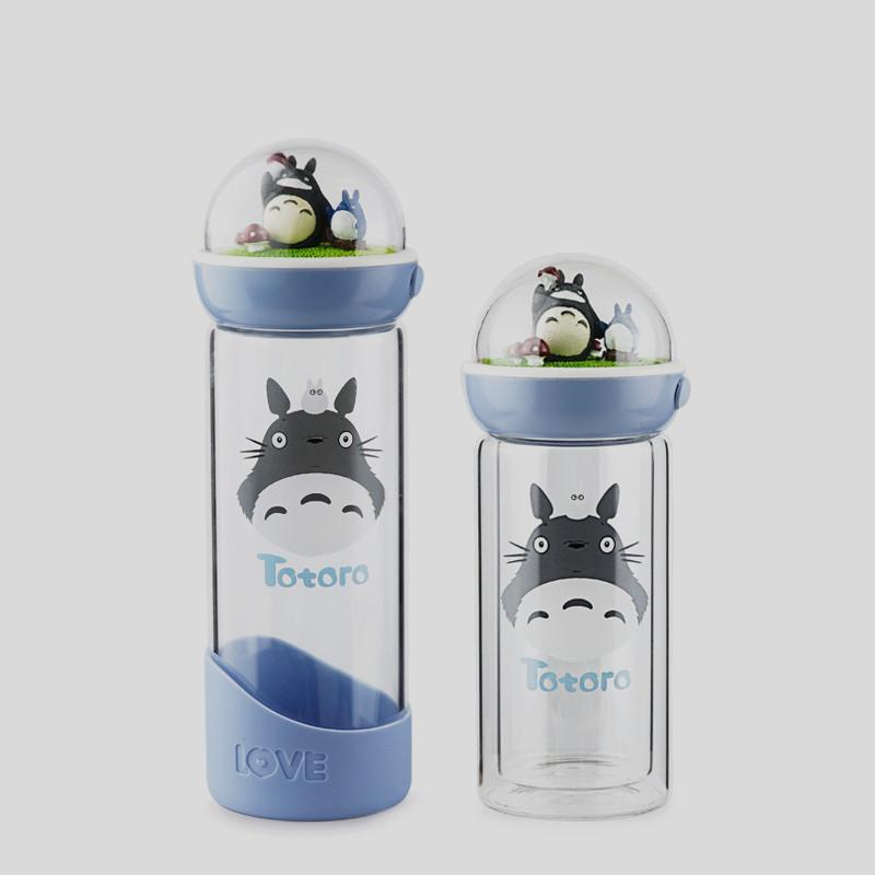 Korean Creative Totoro Landscape Double Wall Glass Water Bottle With Lid  Cute Portable Glass Bottle For Water Free Shipping