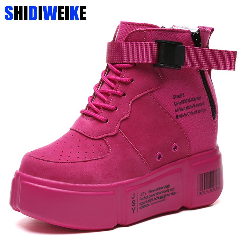 7d50ba8c7c1 Womens hidden heels wedge sneakers super high heels lace jpg 1000x1000 Pink  wedge tennis shoes