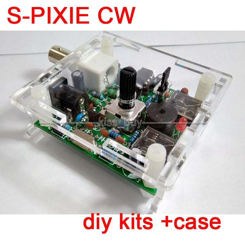 Freeshipping S-PIXIE CW QRP Shortwave Ham Amateur Radio Transceiver  7 023MHz Diy Kits Case