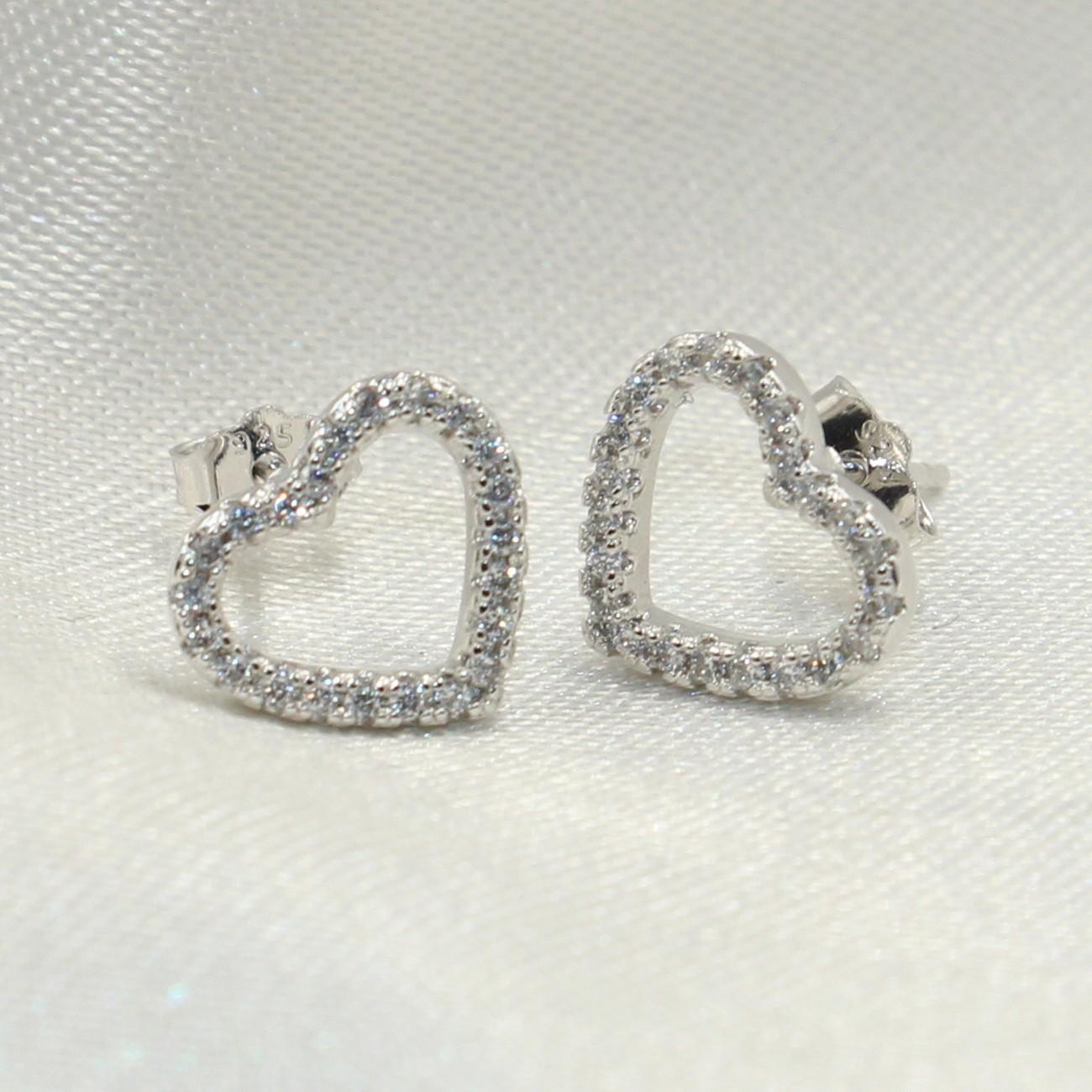 8263f00df 2019 Cute Girls Earring Brand New Luxury Jewelry 925 Sterling Silver Stud  Earring Pave Hollow 5A Cubic Zirconia CZ Diamond Hear Earrings Gift From ...